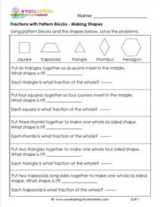 fractions with pattern blocks making shapes
