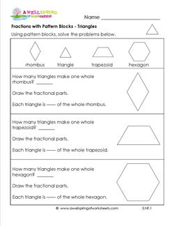 fractions with pattern blocks triangles