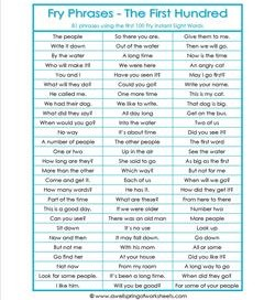Fry Phrases - The First 100 - First Grade Sight Words