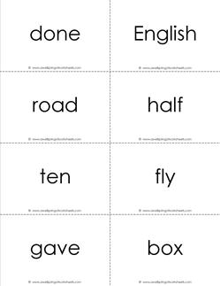 fry word flash cards - the fifth 100 - black and white