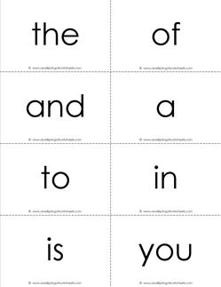 fry word flash cards - the first 100 - black and white
