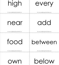 fry word flash cards - the third 100 - black and white