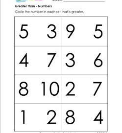 Greater Than - Numbers - Comparison Worksheets