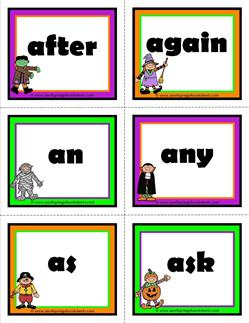 halloween dolch sight word flashcards first grade