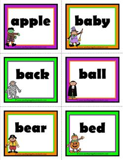 halloween dolch sight word flashcards nouns