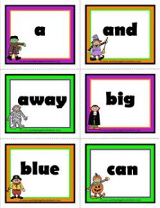 halloween dolch sight words flashcards pre-primer