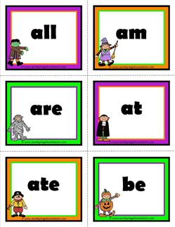halloween dolch sight word flashcards primer