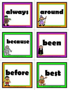 halloween dolch sight word flashcards second grade
