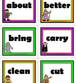 halloween dolch sight word flashcards third grade