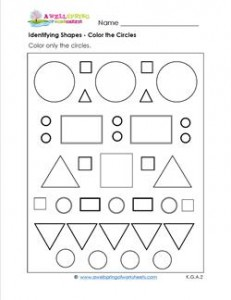 identifying shapes - color the circles