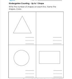 Kindergarten Counting - Up to 1 Shape