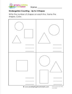Kindergarten Counting - Up to 3 Shapes