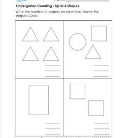 Kindergarten counting - Up to 4 Shapes