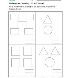 Kindergarten Counting - Up to 5 Shapes