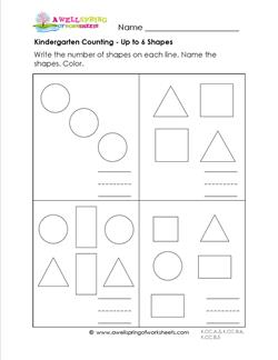 Kindergarten Counting - Up to 6 Shapes