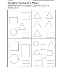 Kindergarten Counting - Up to 7 Shapes