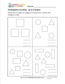 Kindergarten counting - Up to 8 Shapes