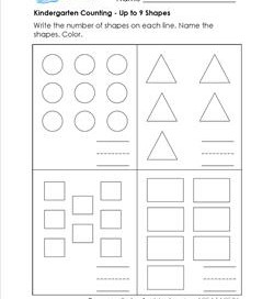 Kindergarten Counting - Up to 9 Shapes