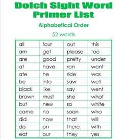 Kindergarten Dolch Sight Words - Lists, Flash Cards, and More!