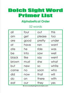 kindergarten dolch word list - alphabetical order