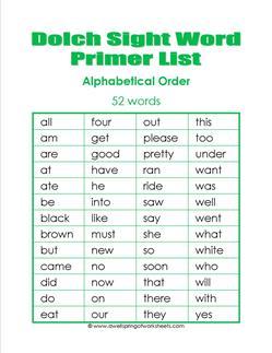kindergarten dolch word list - alphabetical order