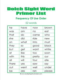 kindergarten dolch word list - frequency order