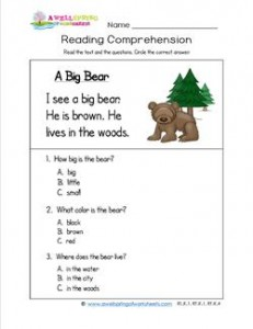 Worksheets Reading Comprehension For Kids kindergarten reading comprehension a big bear three multiple choice questions
