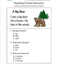Kindergarten reading comprehension worksheets kindergarten reading comprehension a big bear three multiple choice reading comprehension questions ibookread Download