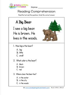 Kindergarten Reading Comprehension - A Big Bear. Three multiple choice reading comprehension questions.