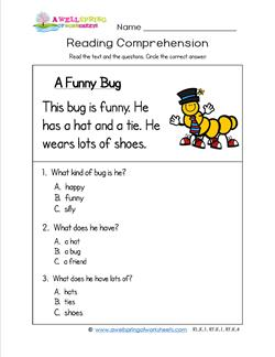 Kindergarten Reading Comprehension - A Funny Bug. Three multiple choice reading comprehension questions.