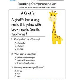 math worksheet : kindergarten reading comprehension worksheets : Multiple Choice Reading Comprehension Worksheets