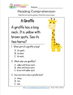 Kindergarten Reading Comprehension - A Giraffe. Three multiple choice reading comprehension questions.
