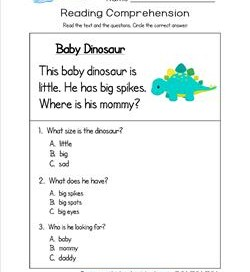 Worksheets Questions For Kindergarten kindergarten reading comprehension worksheets baby dinosaur three multiple choice questions