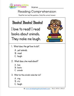 Kindergarten Reading Comprehension - Books! Books! Books! Three multiple choice reading comprehension questions.