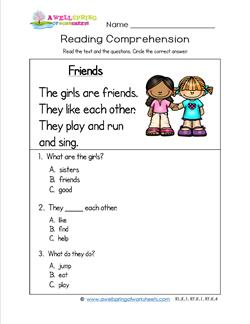 Kindergarten Reading Comprehension - Friends. Three multiple choice reading comprehension questions.