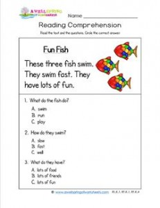 Kindergarten Reading Comprehension - Fun Fish. Three multiple choice reading comprehension questions.