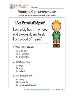 math worksheet : kindergarten reading comprehension  i am proud of myself  boy : Comprehension Worksheets For Kindergarten