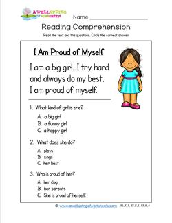 Kindergarten Reading Comprehension - I Am Proud of Myself. Three multiple choice reading comprehension questions.