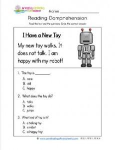 math worksheet : kindergarten reading comprehension  i have a new toy : Reading Worksheet For Kindergarten