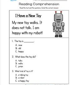 kindergarten reading comprehension worksheets kindergarten reading comprehension  i have a new toy three multiple  choice reading comprehension questions