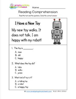 Kindergarten Reading Comprehension - I Have a New Toy. Three multiple choice reading comprehension questions