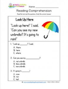 Kindergarten Reading Comprehension - Look Up Here. Three multiple choice reading comprehension questions.