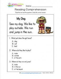 Kindergarten Reading Comprehension - My Dog. Three multiple choice reading comprehension questions.
