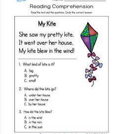 Kindergarten Reading Comprehension - My Kite. Three multiple choice reading comprehension questions.