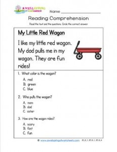 Kindergarten Reading Comprehension - My Little Red Wagon. Three multiple choice reading comprehension questions.