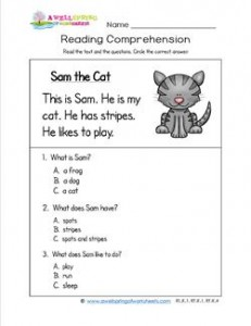 math worksheet : kindergarten reading comprehension  sam the cat : Reading Comprehension With Multiple Choice Questions Worksheets