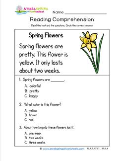 Printables Comprehension Worksheets For Kindergarten grade a wellspring of worksheets kindergarten reading comprehension spring flowers three multiple choice questions