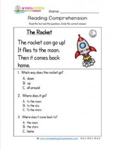 Kindergarten Reading Comprehension - The Rocket. Three multiple choice reading comprehension questions.