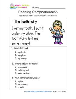 ... kindergarten reading comprehension worksheet about losing a tooth and