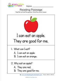 Kindergarten Reading Passages - Apple. A Kindergarten Reading Comprehension Worksheet.